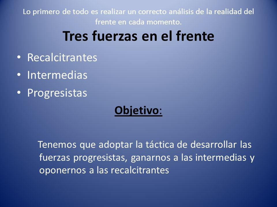 Recalcitrantes Intermedias Progresistas Objetivo:
