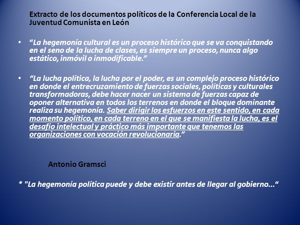 Extracto de los documentos políticos de la Conferencia Local de la Juventud Comunista en León