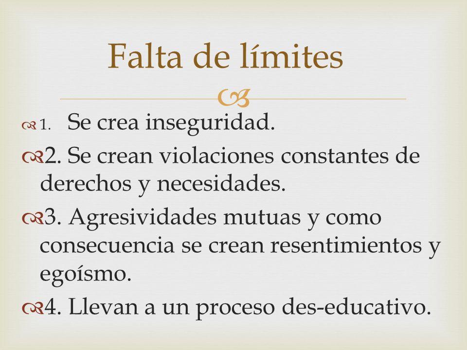 Falta de límites 1. Se crea inseguridad. 2. Se crean violaciones constantes de derechos y necesidades.