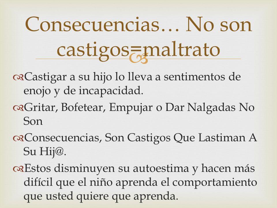 Consecuencias… No son castigos=maltrato