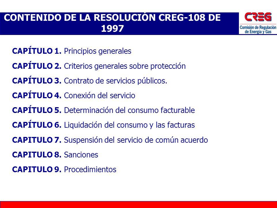 CONTENIDO DE LA RESOLUCIÓN CREG-108 DE 1997