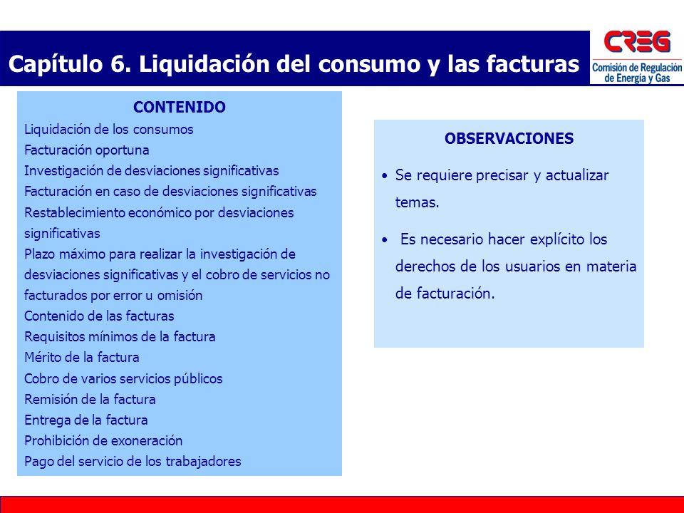 Capítulo 6. Liquidación del consumo y las facturas
