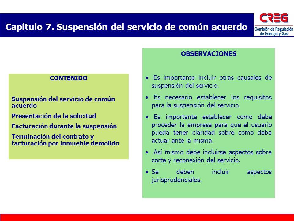 Capítulo 7. Suspensión del servicio de común acuerdo