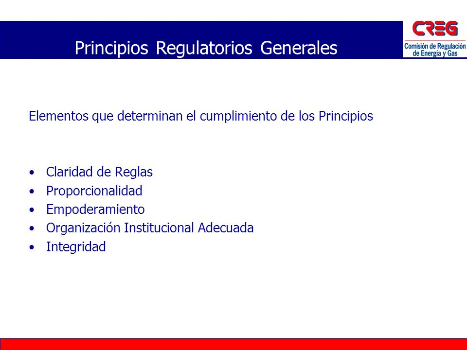 Principios Regulatorios Generales