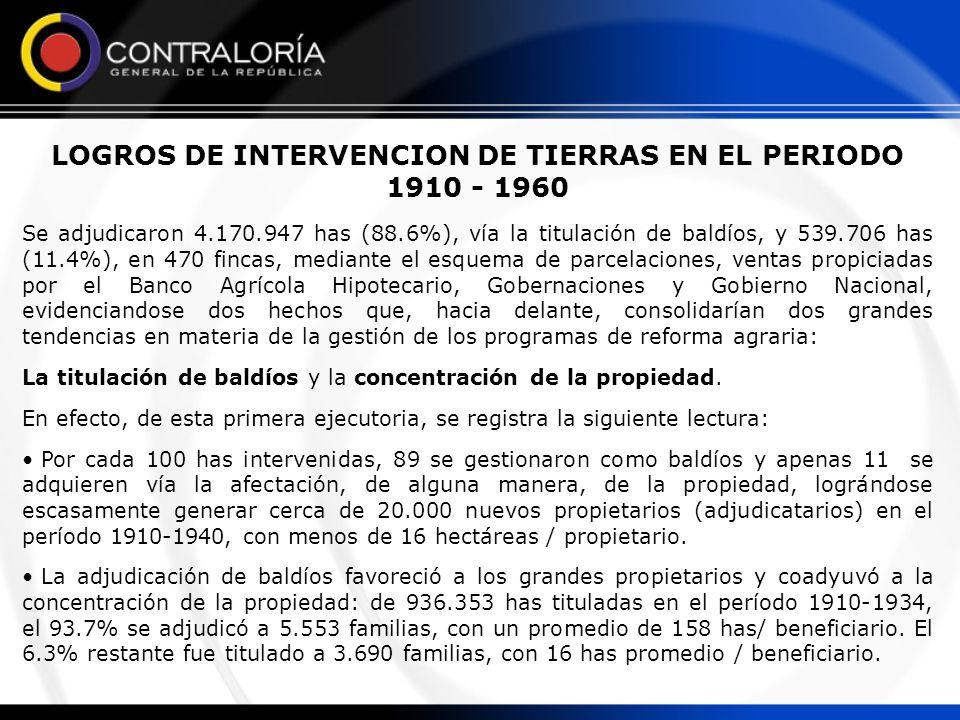 LOGROS DE INTERVENCION DE TIERRAS EN EL PERIODO 1910 - 1960