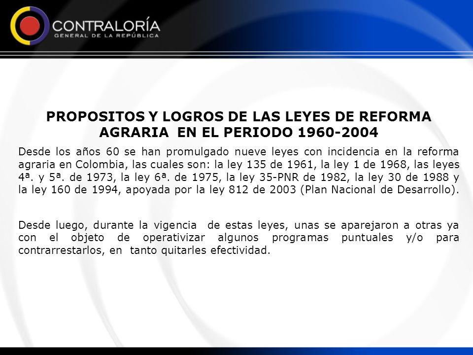 PROPOSITOS Y LOGROS DE LAS LEYES DE REFORMA AGRARIA EN EL PERIODO 1960-2004