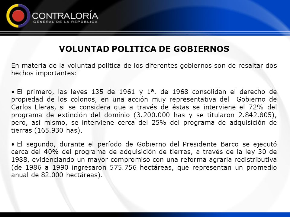 VOLUNTAD POLITICA DE GOBIERNOS