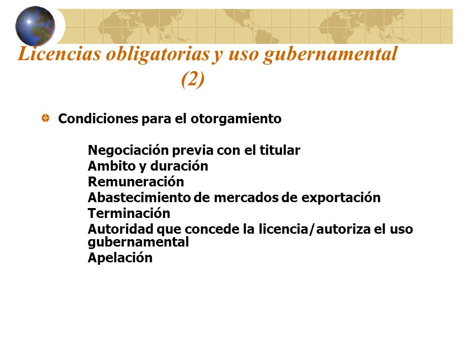 Licencias obligatorias y uso gubernamental (2)