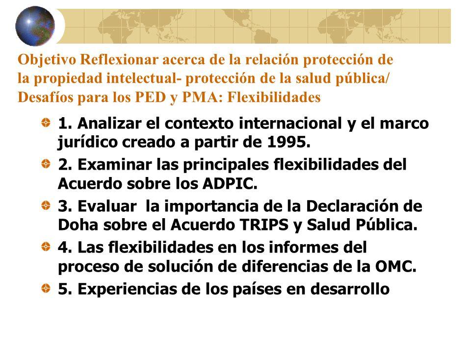 Objetivo Reflexionar acerca de la relación protección de la propiedad intelectual- protección de la salud pública/ Desafíos para los PED y PMA: Flexibilidades