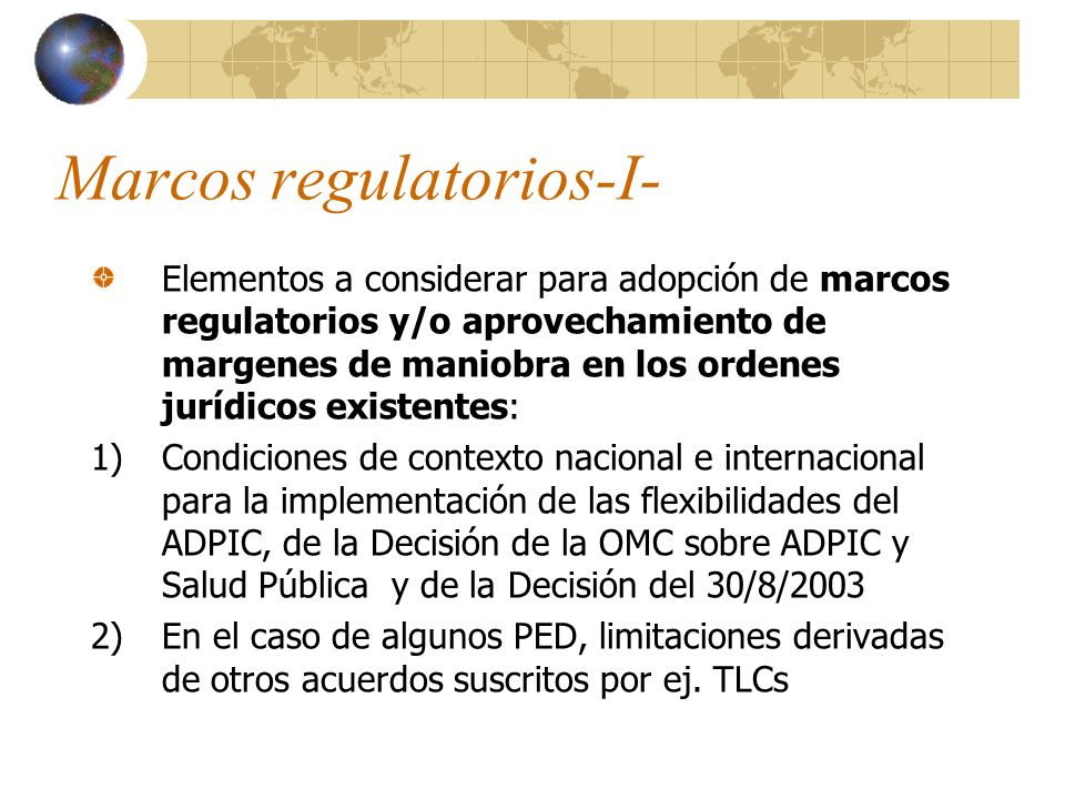 Marcos regulatorios-I-