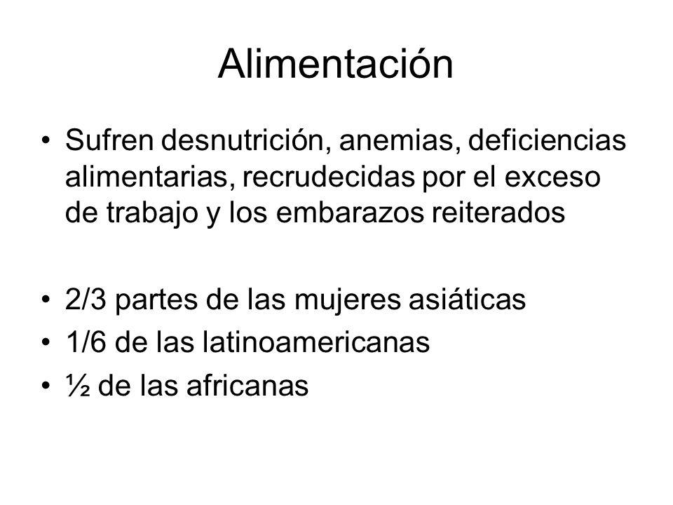 Alimentación Sufren desnutrición, anemias, deficiencias alimentarias, recrudecidas por el exceso de trabajo y los embarazos reiterados.