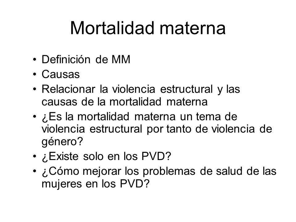 Mortalidad materna Definición de MM Causas