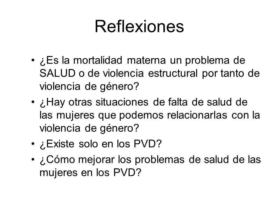 Reflexiones ¿Es la mortalidad materna un problema de SALUD o de violencia estructural por tanto de violencia de género