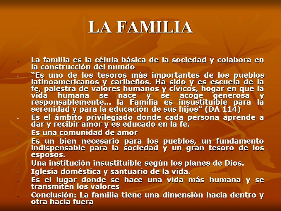 LA FAMILIA La familia es la célula básica de la sociedad y colabora en la construcción del mundo.