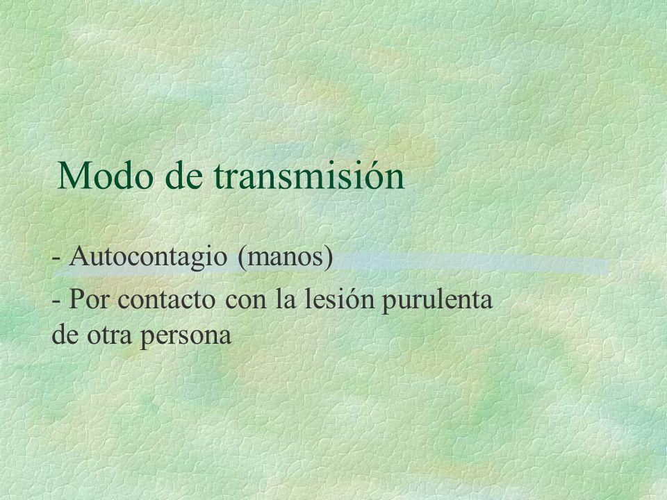 Modo de transmisión - Autocontagio (manos)