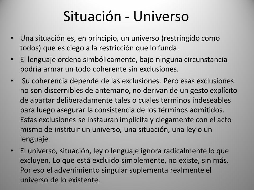 Situación - UniversoUna situación es, en principio, un universo (restringido como todos) que es ciego a la restricción que lo funda.