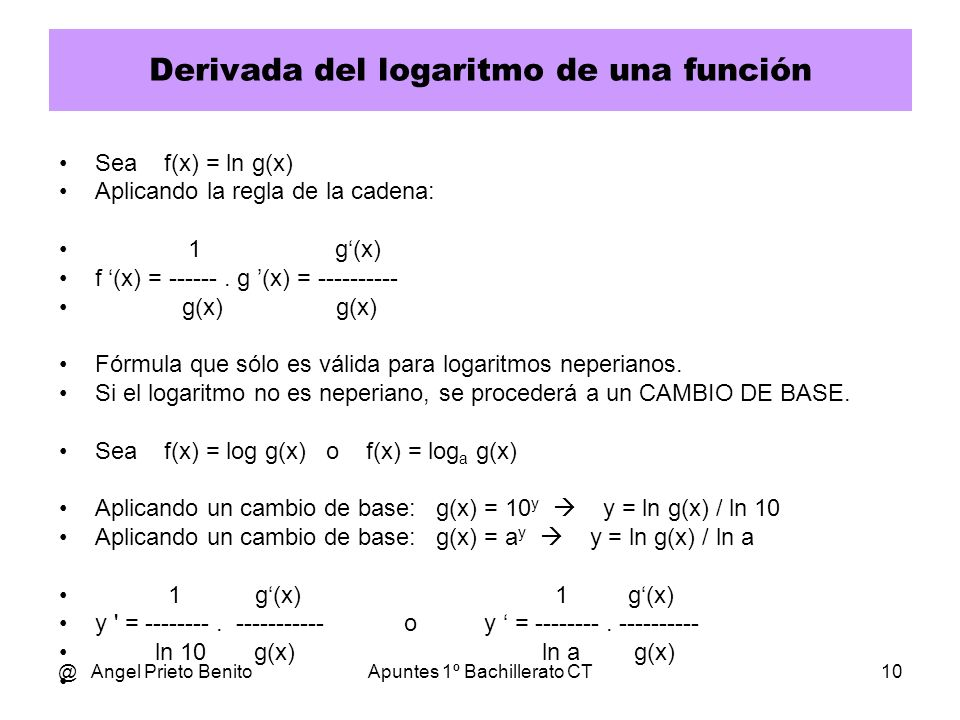 Derivada del logaritmo de una función