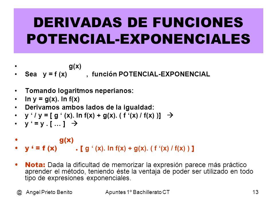 DERIVADAS DE FUNCIONES POTENCIAL-EXPONENCIALES