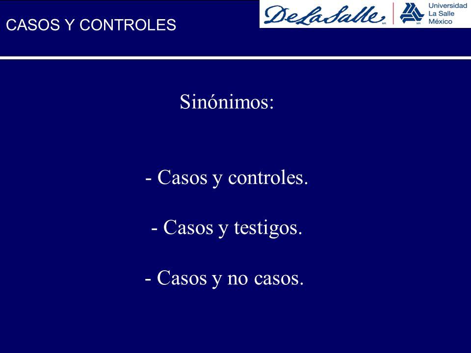 Sinónimos: Casos y controles. Casos y testigos. Casos y no casos.
