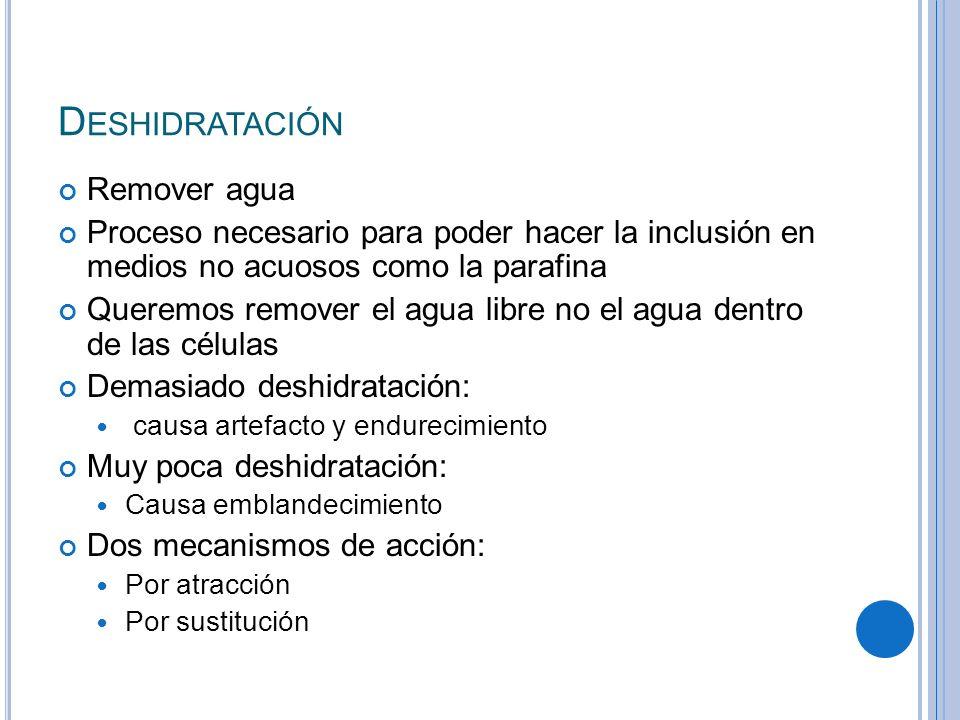 Deshidratación Remover agua