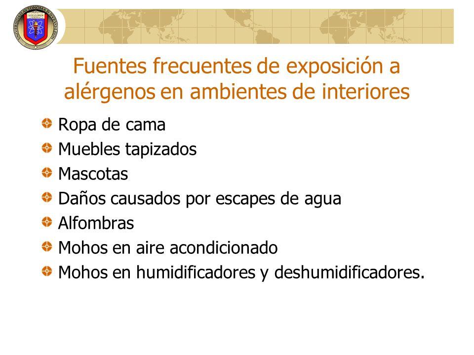 Fuentes frecuentes de exposición a alérgenos en ambientes de interiores