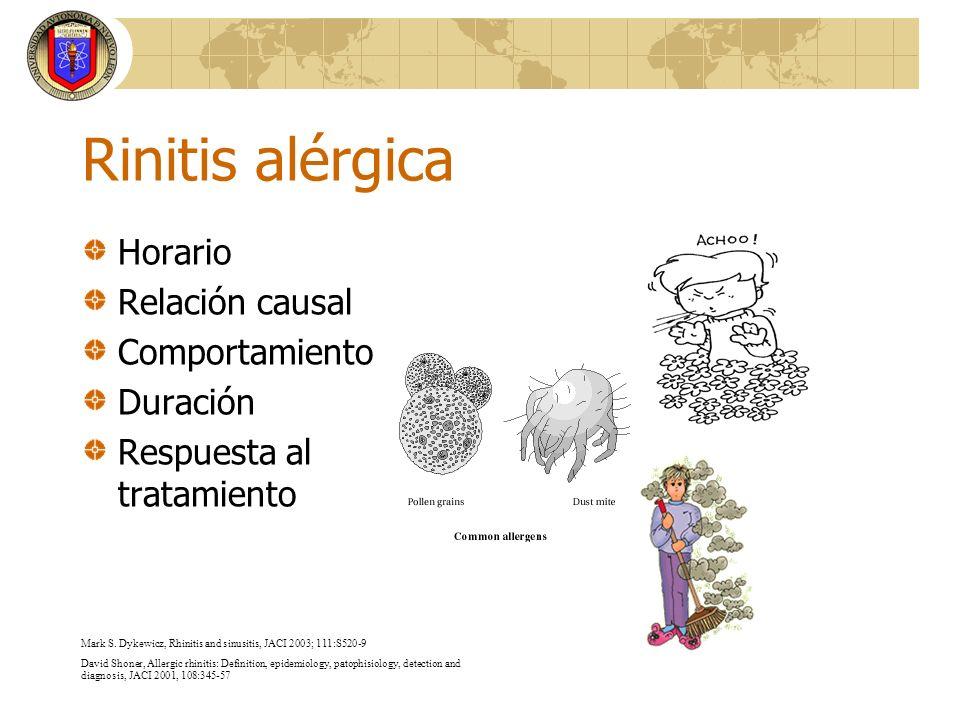 Rinitis alérgica Horario Relación causal Comportamiento Duración