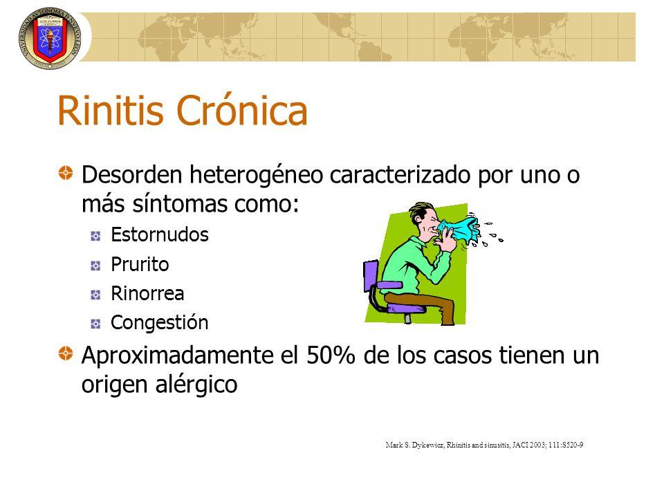 Rinitis CrónicaDesorden heterogéneo caracterizado por uno o más síntomas como: Estornudos. Prurito.