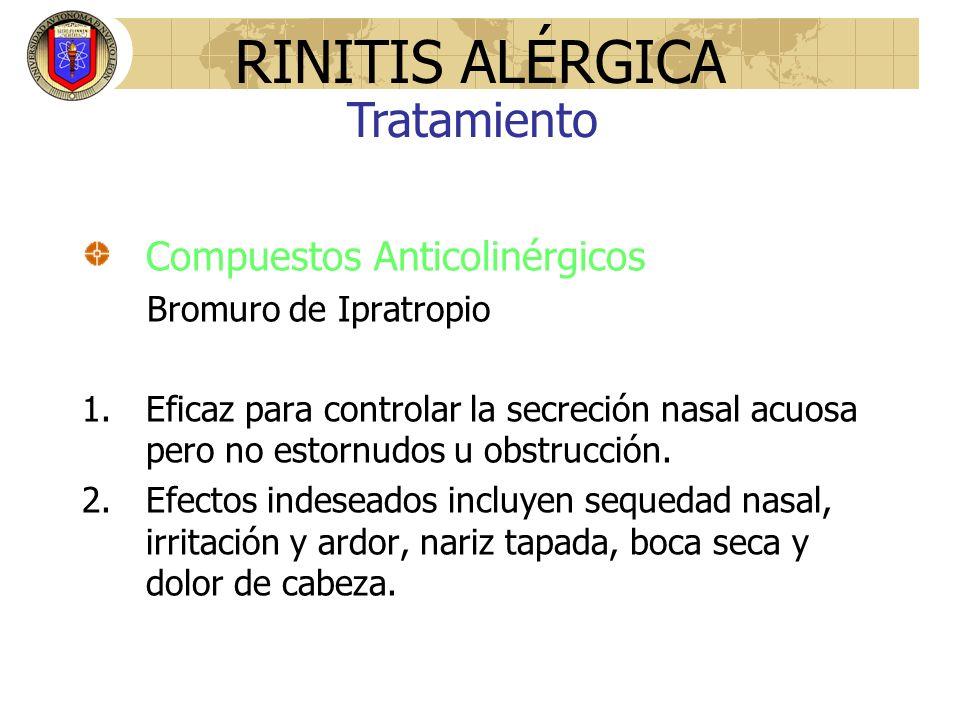 RINITIS ALÉRGICA Tratamiento Compuestos Anticolinérgicos