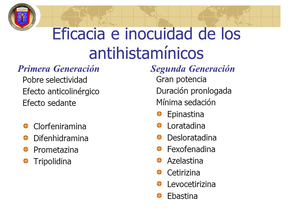 Eficacia e inocuidad de los antihistamínicos
