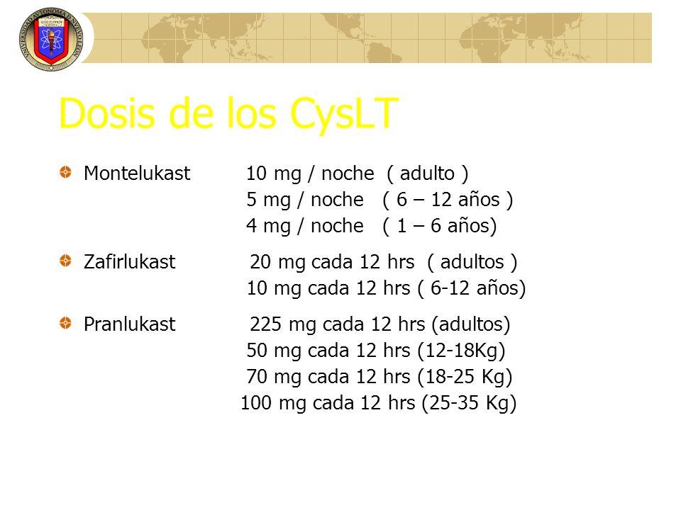 Dosis de los CysLT Montelukast 10 mg / noche ( adulto )
