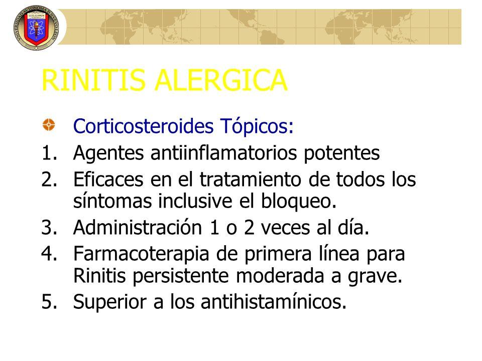 RINITIS ALERGICA Corticosteroides Tópicos: