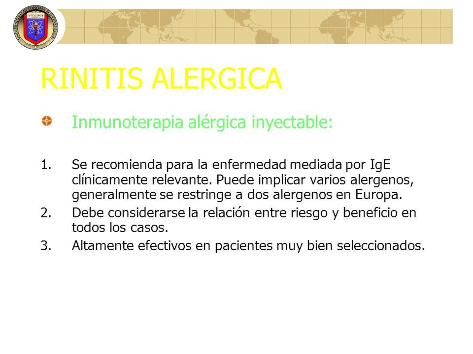 RINITIS ALERGICA Inmunoterapia alérgica inyectable: