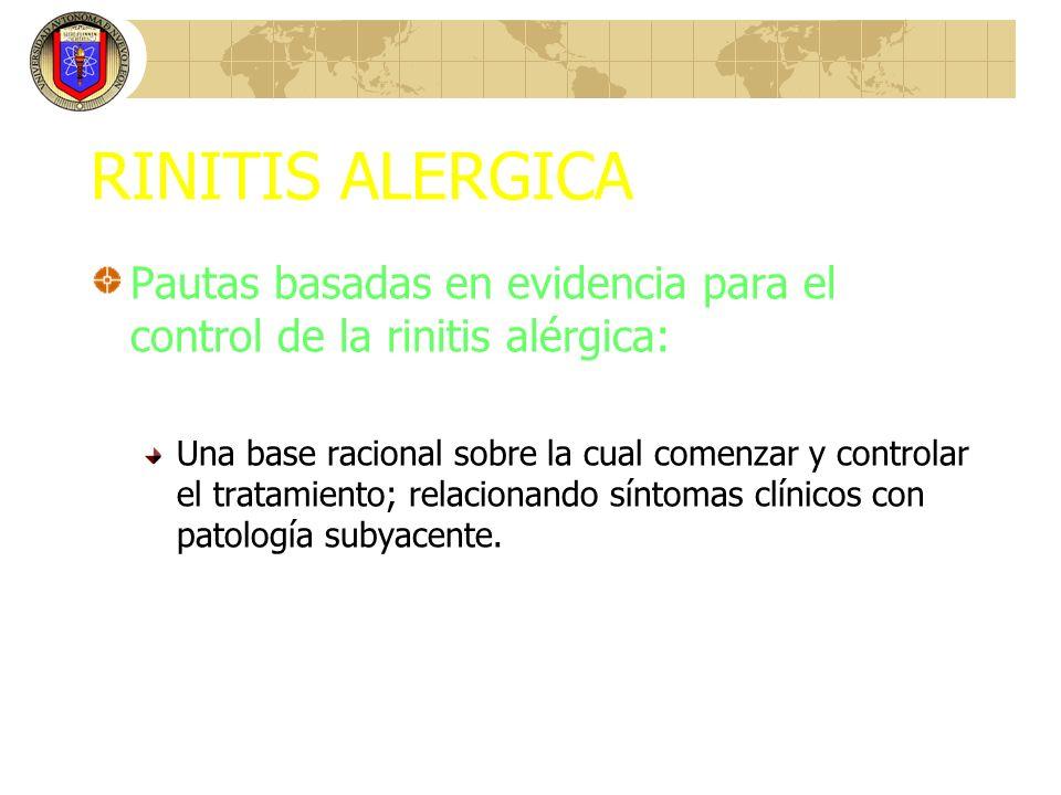 RINITIS ALERGICA Pautas basadas en evidencia para el control de la rinitis alérgica: