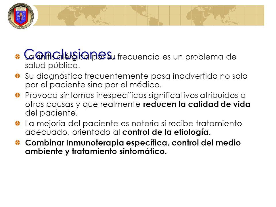 Conclusiones.La rinitis alérgica por su frecuencia es un problema de salud pública.