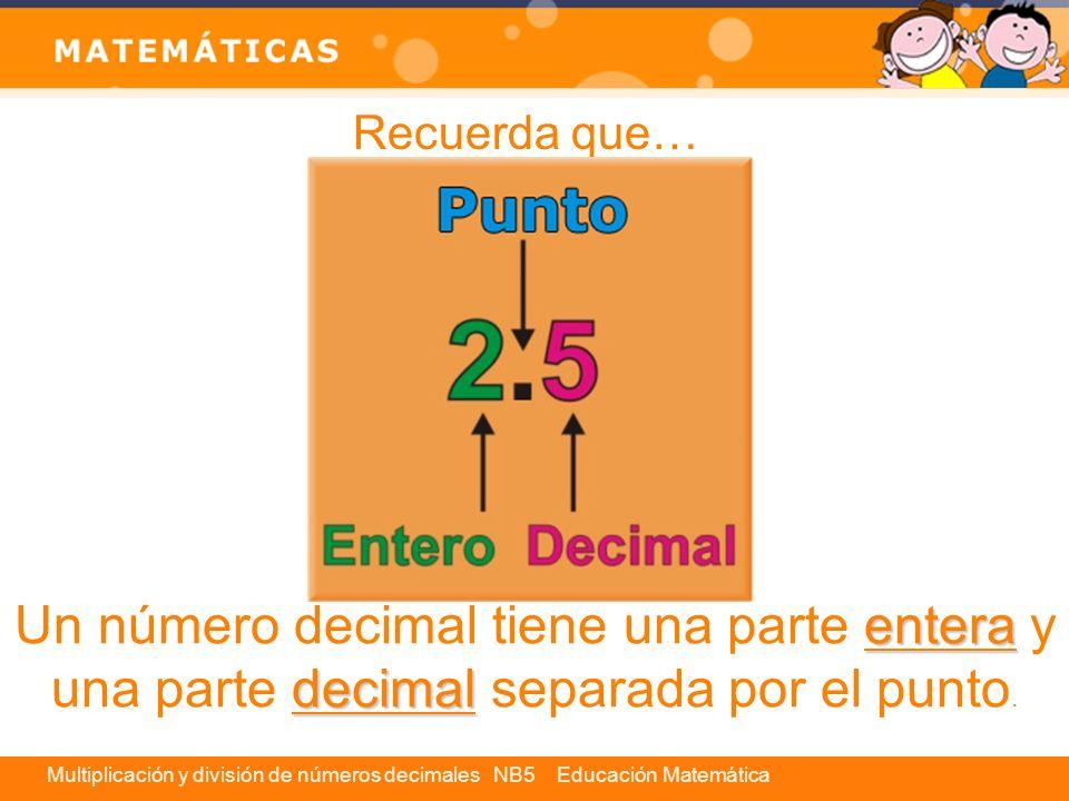 Recuerda que… Un número decimal tiene una parte entera y una parte decimal separada por el punto.