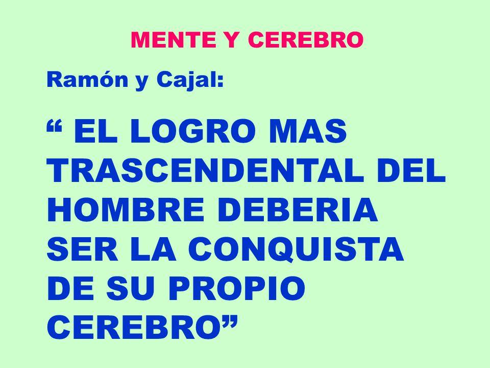 MENTE Y CEREBRO Ramón y Cajal: EL LOGRO MAS TRASCENDENTAL DEL HOMBRE DEBERIA SER LA CONQUISTA DE SU PROPIO CEREBRO