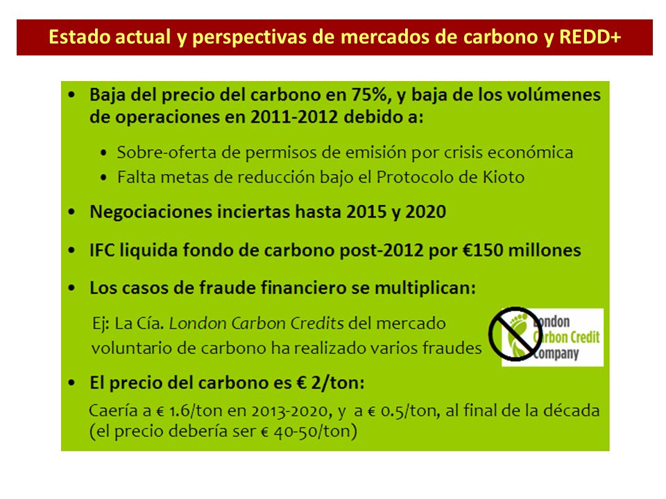 Estado actual y perspectivas de mercados de carbono y REDD+