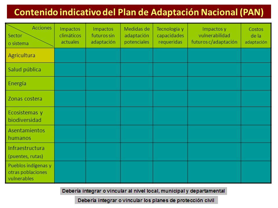 Contenido indicativo del Plan de Adaptación Nacional (PAN)