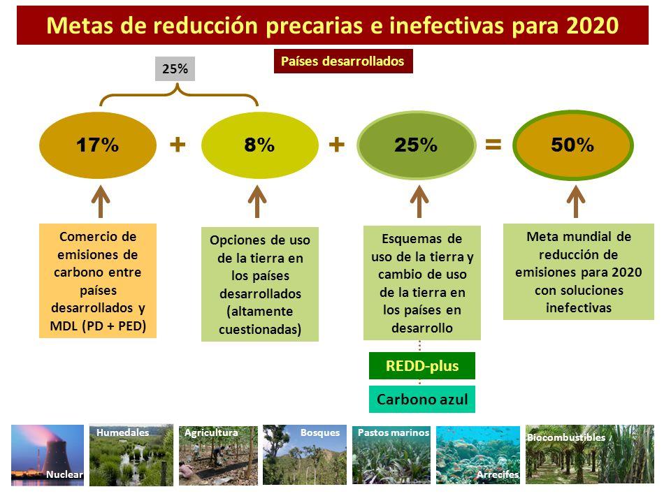 + + = Metas de reducción precarias e inefectivas para 2020 17% 8% 25%