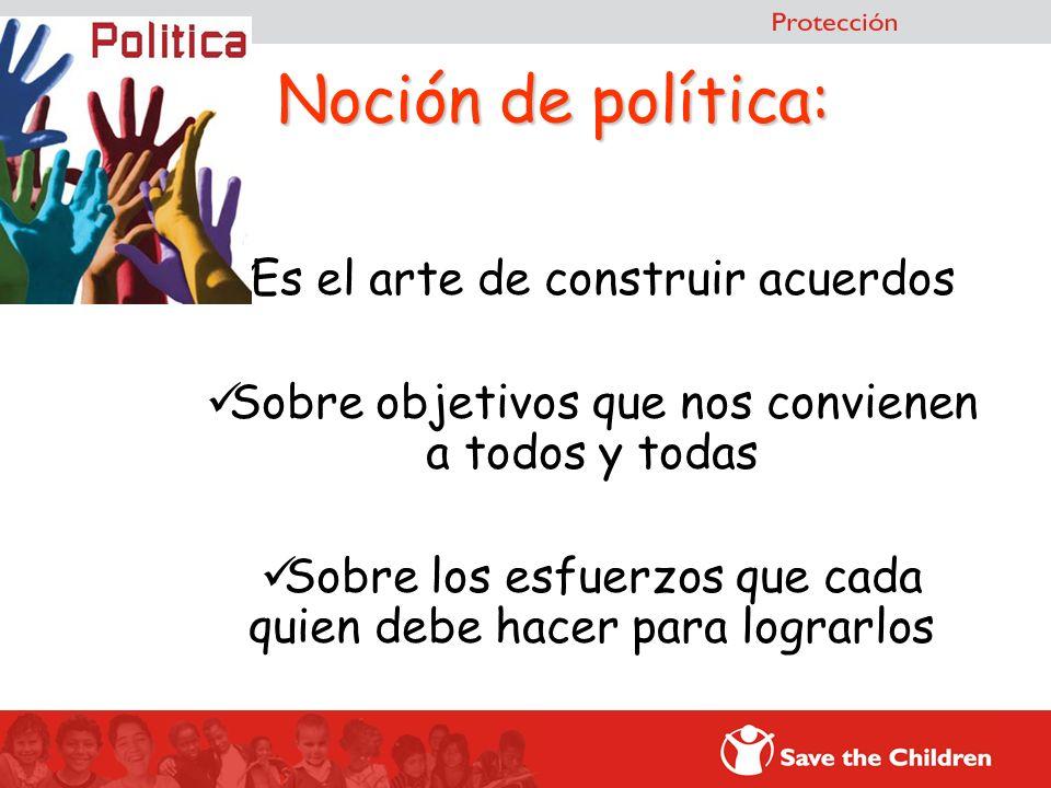 Noción de política: Es el arte de construir acuerdos