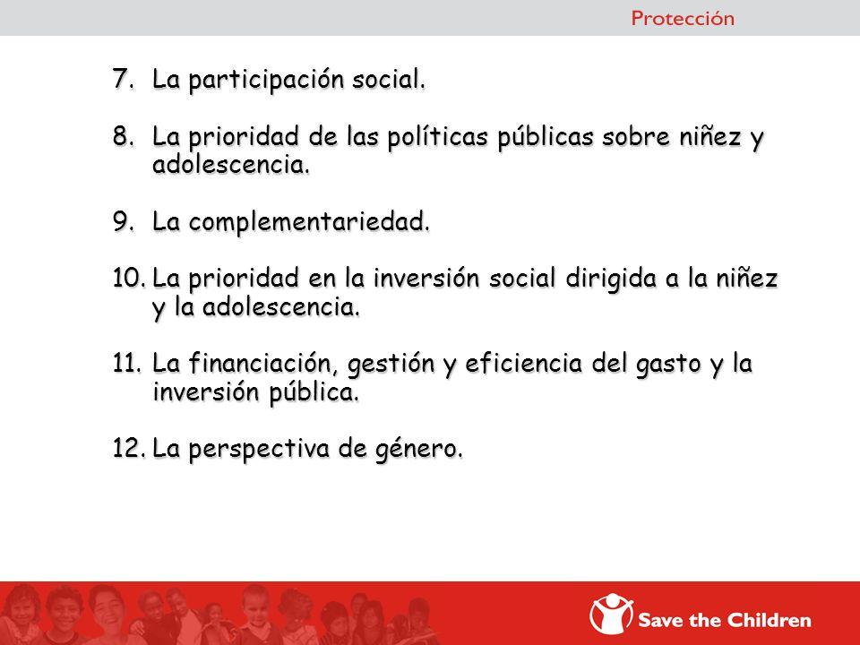 7. La participación social. 8