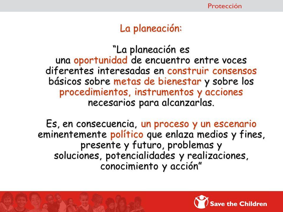 La planeación: La planeación es una oportunidad de encuentro entre voces diferentes interesadas en construir consensos básicos sobre metas de bienestar y sobre los procedimientos, instrumentos y acciones necesarios para alcanzarlas.