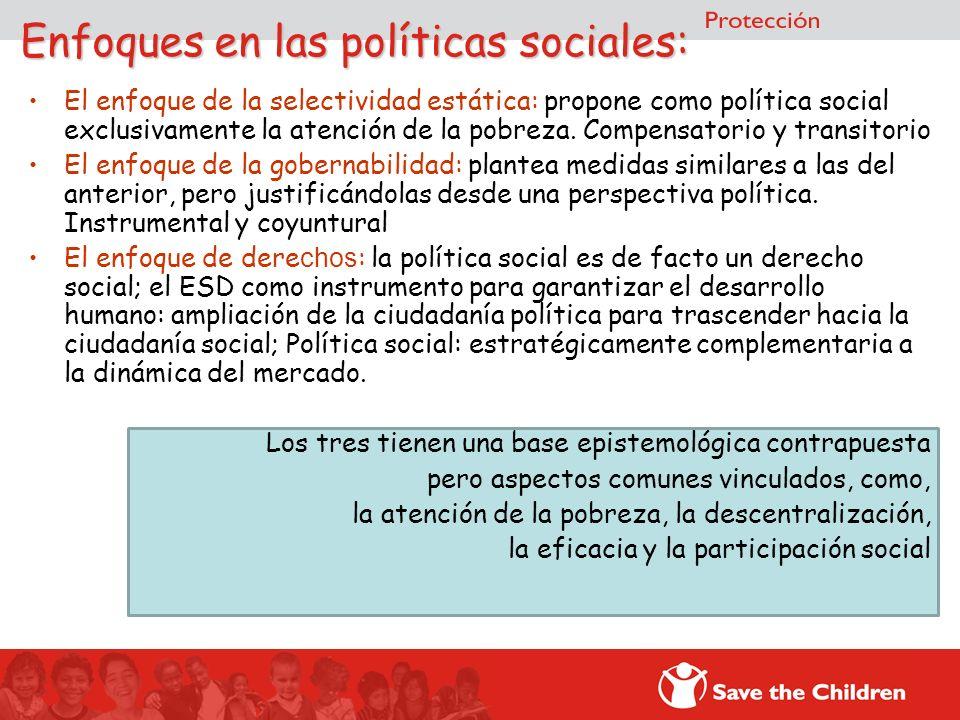 Enfoques en las políticas sociales: