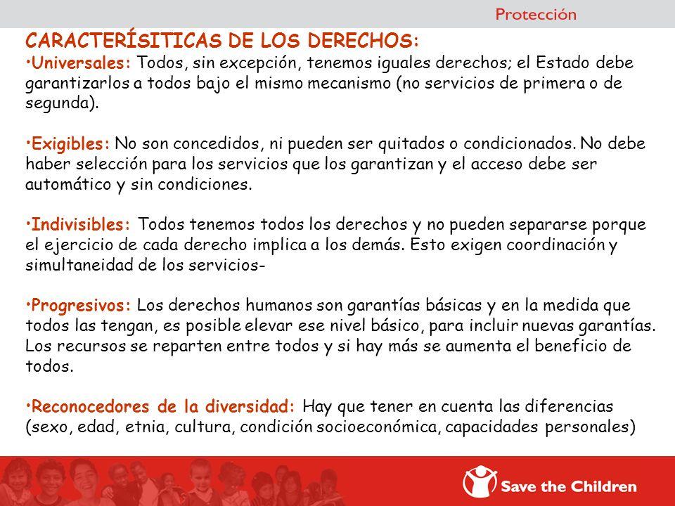 CARACTERÍSITICAS DE LOS DERECHOS: