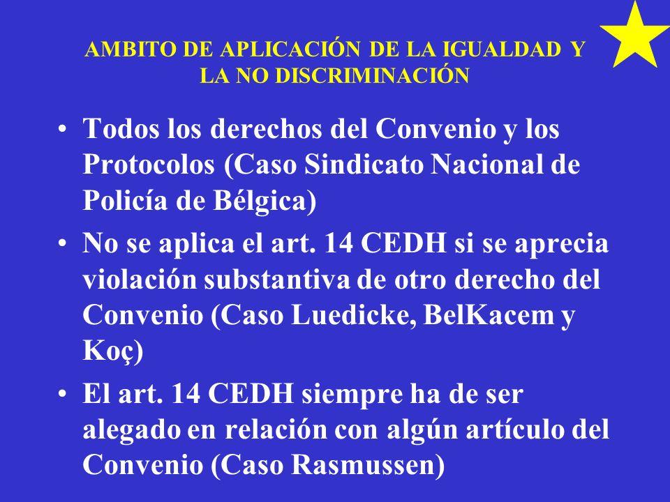 AMBITO DE APLICACIÓN DE LA IGUALDAD Y LA NO DISCRIMINACIÓN