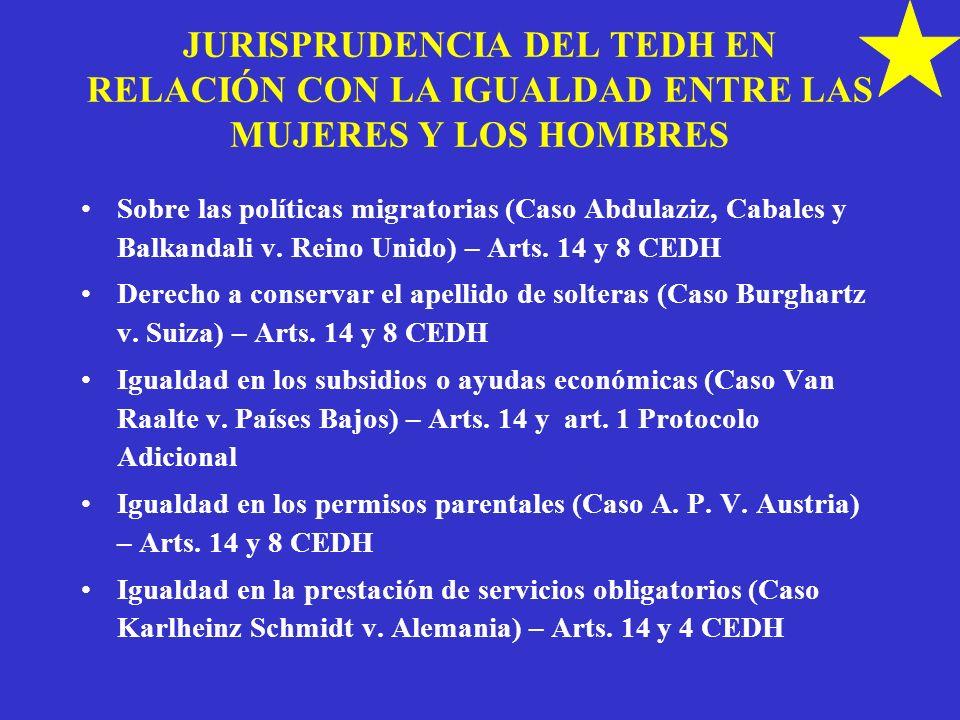 JURISPRUDENCIA DEL TEDH EN RELACIÓN CON LA IGUALDAD ENTRE LAS MUJERES Y LOS HOMBRES
