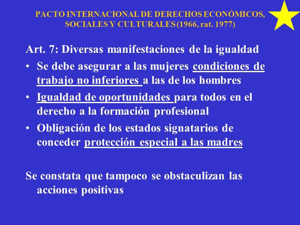 Art. 7: Diversas manifestaciones de la igualdad