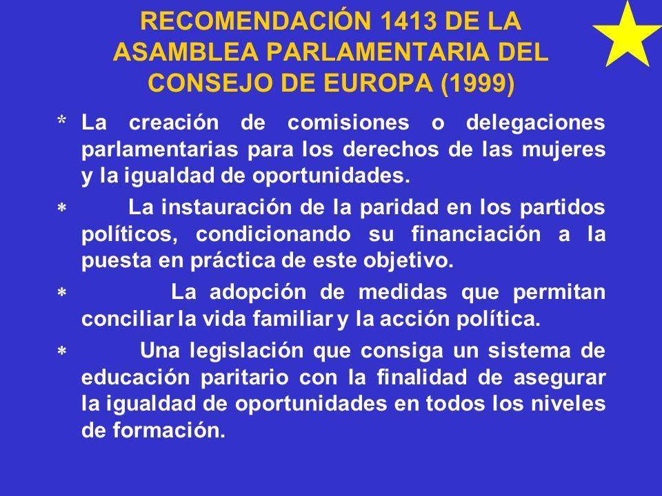 RECOMENDACIÓN 1413 DE LA ASAMBLEA PARLAMENTARIA DEL CONSEJO DE EUROPA (1999)