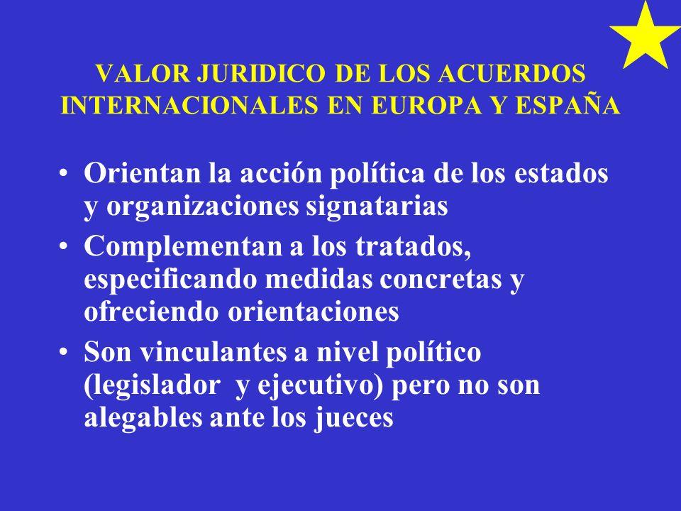 VALOR JURIDICO DE LOS ACUERDOS INTERNACIONALES EN EUROPA Y ESPAÑA