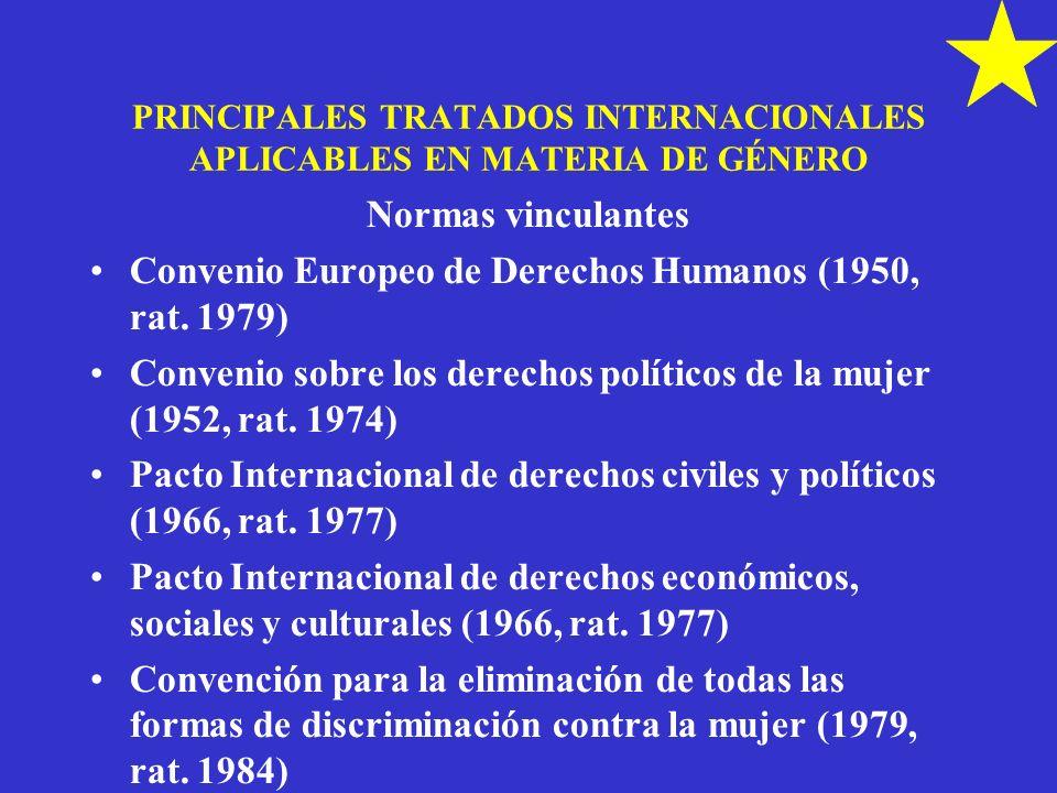 PRINCIPALES TRATADOS INTERNACIONALES APLICABLES EN MATERIA DE GÉNERO